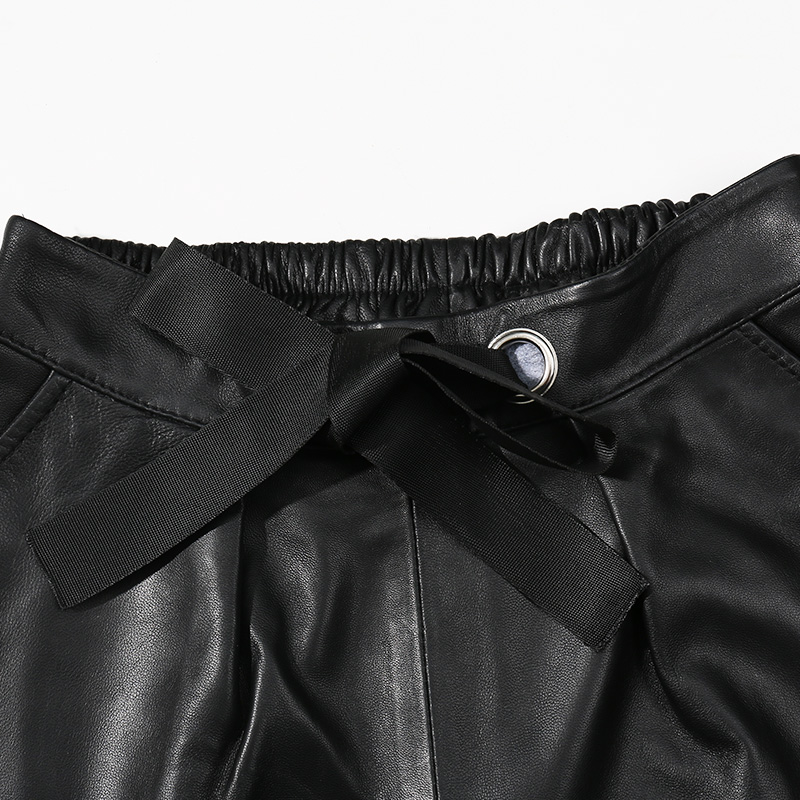 Cintura Para Cortos Las Cuero Mujeres Plus Genuino 2018 Casuales Pantalones Mujer De Oveja Tamaño Negro Alta Piel Black Otoño Invierno dqTwadFx