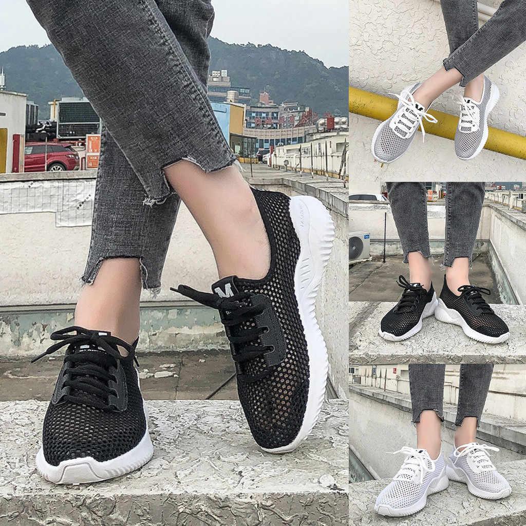 Women Ladies Fashion Mesh Comfort Breathable Lace Up Casual Shoes Sneakers calzado elegante de dama zapatos de tacon de mujer