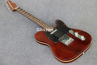 TL tele brown electric guitar, string through body, 6 saddles bridge