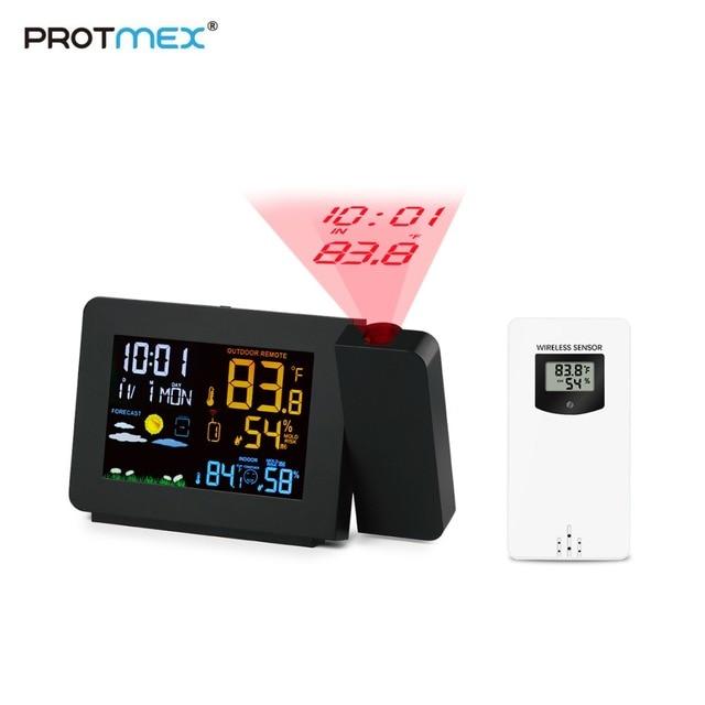 Protmex PT3391 Projectie Weer Klok, Radio Controlled Klok Weer Monitor Indoor/Outdoor Thermometer