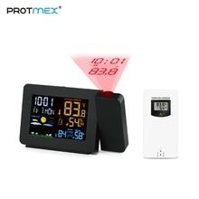 Protmex PT3391 الإسقاط ساعة الطقس ، ساعة للتحكم في الراديو الطقس رصد داخلي/مقياس حرارة خارجي