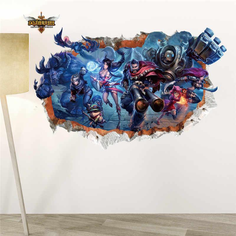 ליגה של אגדות 3d Borken חור קיר מדבקות חדר ילדים עיצוב הבית LOL משחק קיר קיר אמנות Diy בני מדבקות PVC פוסטר