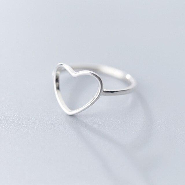 INZATT Genuine 925 Sterling Silver Minimalist Ring For Women Wedding Hollow Heart Fashion jewelry Cute Valentine's Day Gift 4