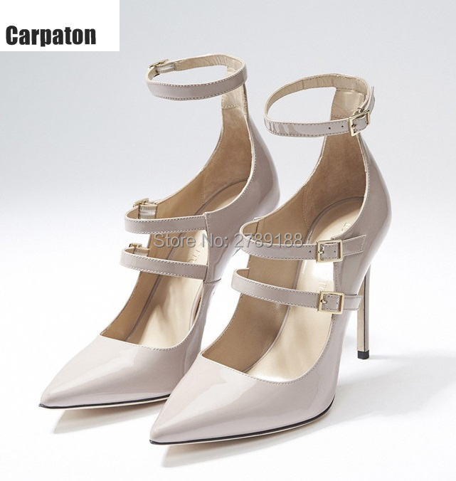 2017 Women Pumps Nude Black Leather High Heel Wedding Stiletto Heels Pointed Toe Shoes Woman Buckle Pumps Party Women's Shoes