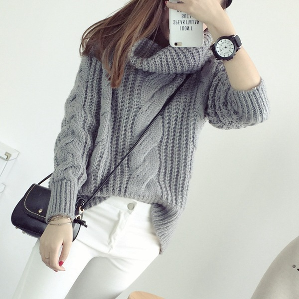 Korea Ladies Winter Sweaters and Pullovers Turtleneck Oversized ...
