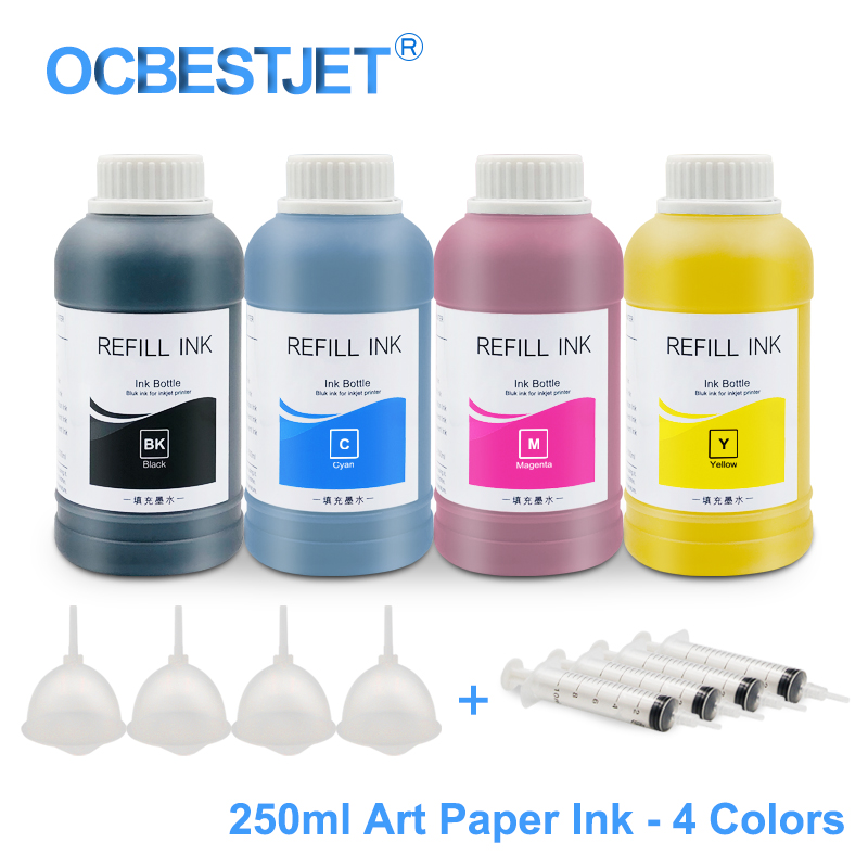 250ML 4 Colors Universal Art Paper Pigment <font><b>Ink</b></font> For <font><b>Epson</b></font> T10 T20 T13 T30 T33 T50 T60 P50 R200 R210 R230 R250 R260 R265 <font><b>R270</b></font> R280 image
