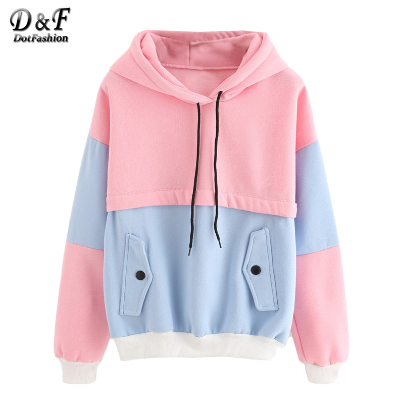 Dotfashion Color Block Drawstring Hooded Tops Pink and Blue Pullovers Women Long