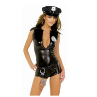 HOT Vinyl Military Playsuit Top Black Shorts Romper Party For Women