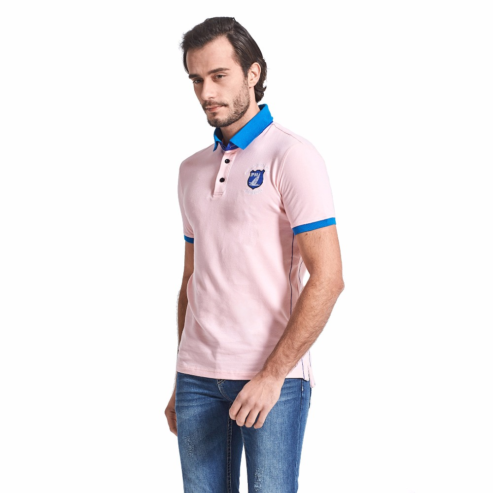 Mens Polo Shirts Solid Casual Pink Cotton Jerseys Tracksuit Slim Fit
