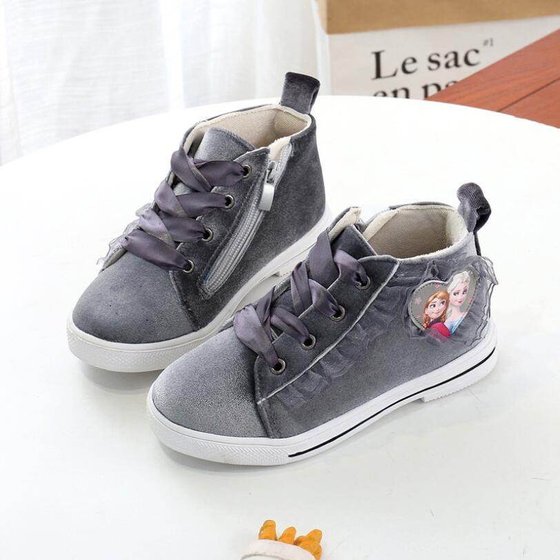 Girls Boots Warm Children's Shoes Lace Princess Shoes For Baby Girls Top Quality Baby Cotton Zip Kids Snow Boots