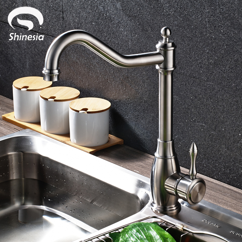Nickel Brushed Stainless Steel Kitchen Sink Faucet Swivel Spout Faucet Hot and Cold Water Mixer Tap betty barclay жакет betty barclay pe50691152 1895