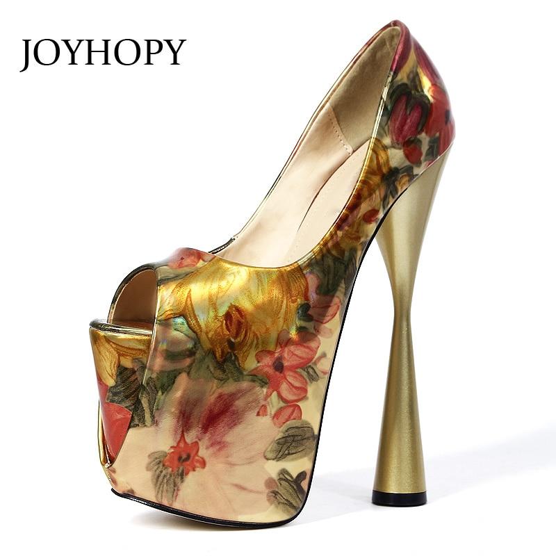 JOYHOPY Summer 19cm Thick Heels Platform Women Pumps Patent Leather Printing Peep Toe High Heels Plus Size 34- 43 Shoes WP1082 цена