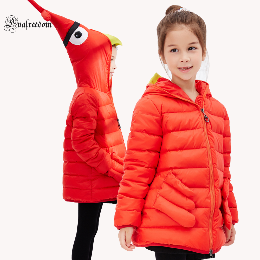 2016 Winter Jacket Girls down coat child down jackets girl duck down long design loose coats children outwear overcaot недорого