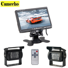 Dual Backup Camera and Monitor Kit For Bus Truck RV, LED Night Vision Rearview Reverse Backup Camera + 7″ LCD Rear View Monitor