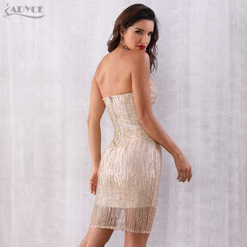 Adyce Summer Women Sequined Bandage Dress Vestidos 2019 New Sexy Strapless Sleeveless Club Dress Runway Celebrity Party Dresses