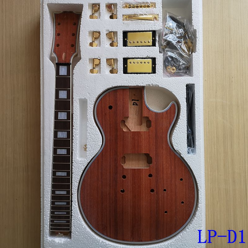 DIY LP Style Electric Guita Padauk Veneer Mahogany Okoume Body Neck Rosewood Fingerboard