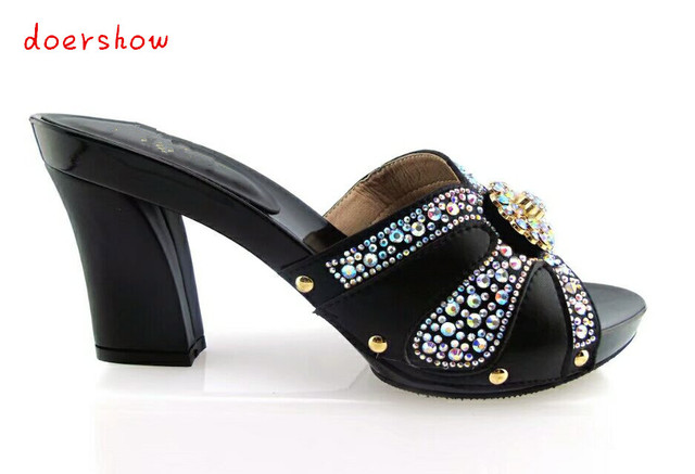 0b93e0fb3f32 doershow doershow Most popular women sandals African shoes with nice  rhinestone for party black!HTX1