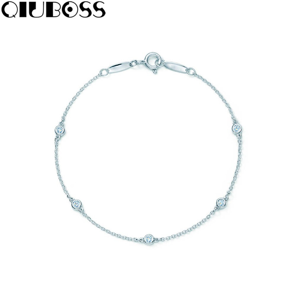 QIUBOSS S925 Sterling Silver Diamonds by the YardTM Bracelet birthday gift Tiffanysilver bangle Woman Exclusive Fashion Design cerezo osaka urawa red diamonds stubhub exclusive seat