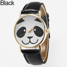Women's Fashion Cartoon Panda Round Dial Faux Leather Analog Quartz Wrist Watch