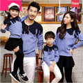 2016 Family Blue sweaters clothing Mom and daughter me Dad Son mother matching clothes Winter Mommy Father outfits mae e filha