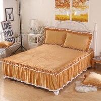 3 unids Invierno gruesa tela Polar caliente ropa de cama de encaje falda de la cama individual 1.2/1.5/1.8/2 m (falda cama individual)