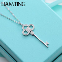 LIAMTING 100 Solid Silver Key Pendant Necklace For Women With Cubic Zirconia Tiff Pure Silver Charms