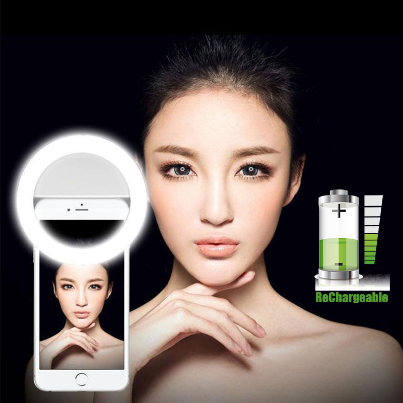 Portable Rechargeable 36 Led Ring Selfie Light Photography Flash for iPhone 5 5S 6 7 Samsung Xiaomi Smartphone Camera Flashlight sixty tips for creative iphone photography