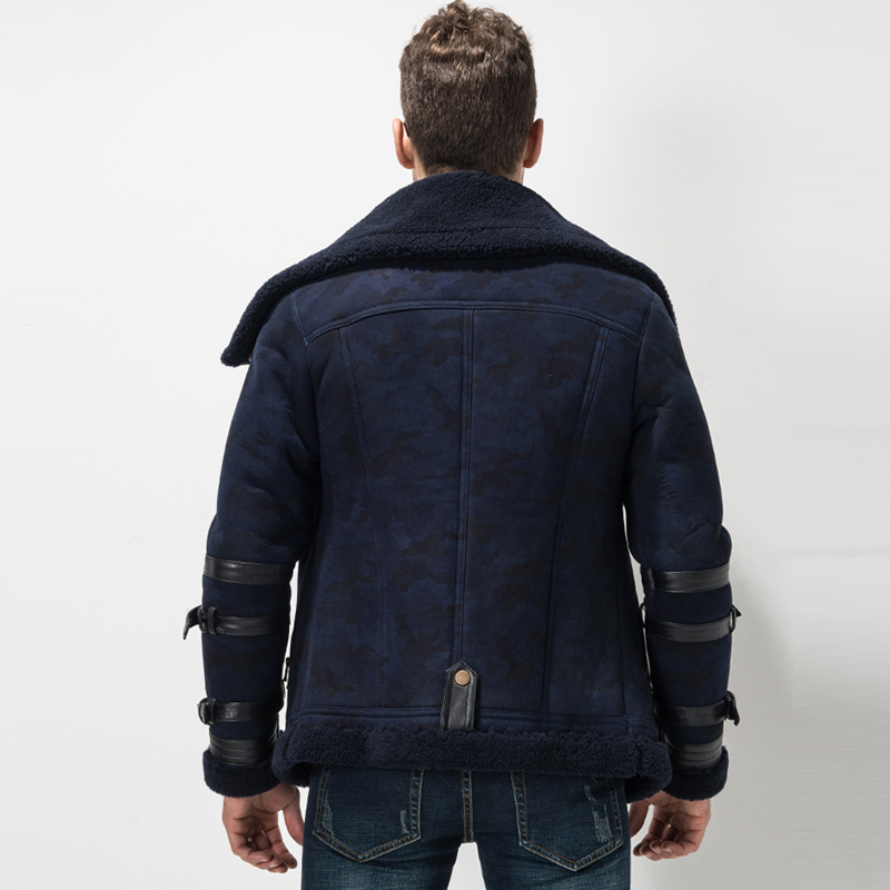 Aliexpress.com : Buy Men's Shearling Coat Blue Color Flight Jacket ...