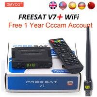 Спутниковые антенны декодер freesat V7 HD DVB-S2 + USB инъекций с 4 линии Европа cccam счет Полная поддержка powervu cccam