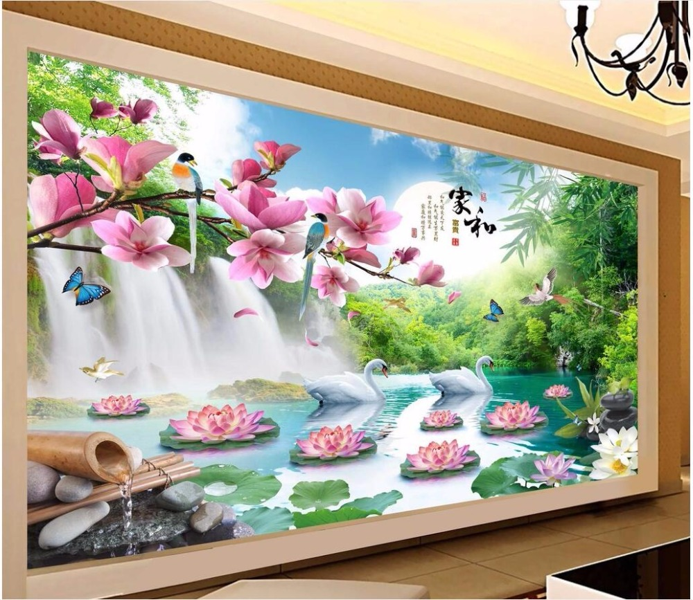 Custom mural 3d photo wallpaper Chinese mountain falls swan lotus painting picture 3d wall murals wallpaper for walls 3 d customize wallpaper for walls 3 d swan lake picture in picture 3d tv backdrop 3d photo wall mural 3d landscape wallpaper