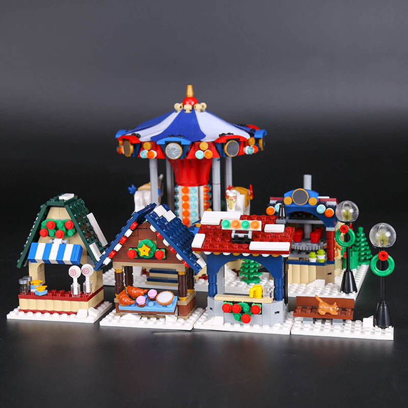 Lepin 36010 Creative Series 1412Pcs The Winter Village Market Set LegoINGys 10235 Building Blocks Bricks Educational Funny Toys lepin 36010 genuine creative series the winter village market set legoing 10235 building blocks bricks educational toys as gift