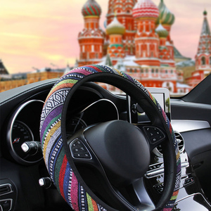 LEEPEE Car Accessories Elastic Car Styling Ethnic Style Car Steering Wheel Cover Linen Universal