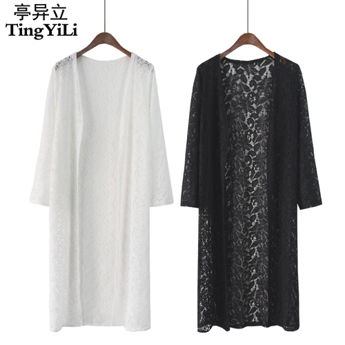 Aliexpress.com : Buy TingYiLi White Black Lace Cardigan Women Long ...