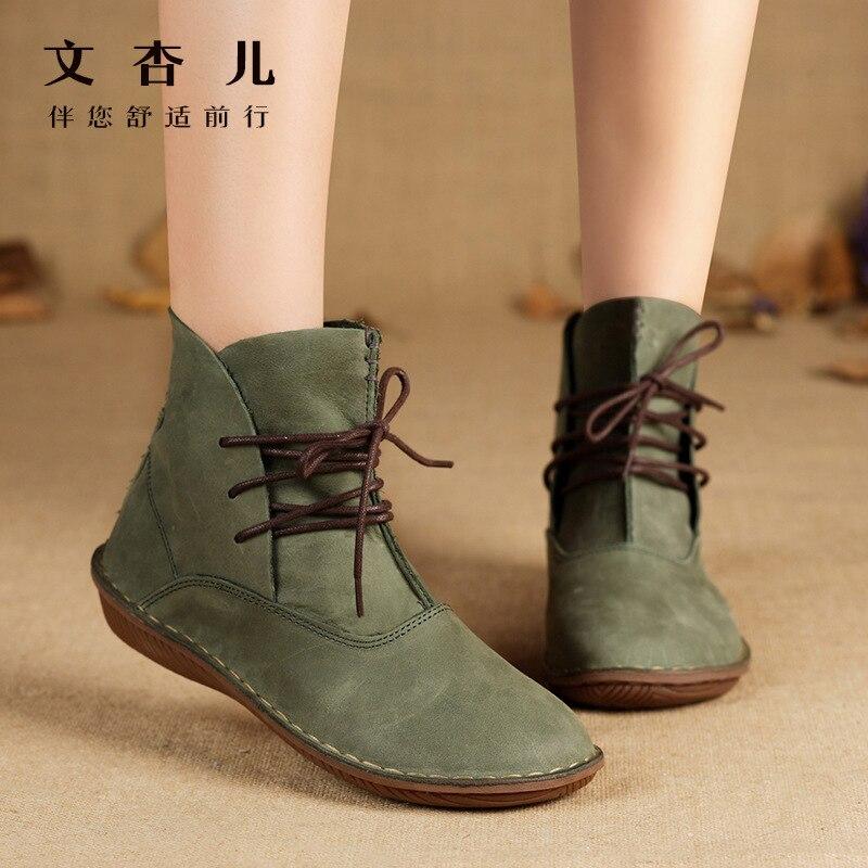 Chaussures pour femmes, nouvelles chaussures pour femmes, bottes simples faites main en cuir pour femmes