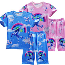 New Childrens Pajamas Girls Cute Pink Unicorn Home Service Suit Kids Beach Casual Clothes