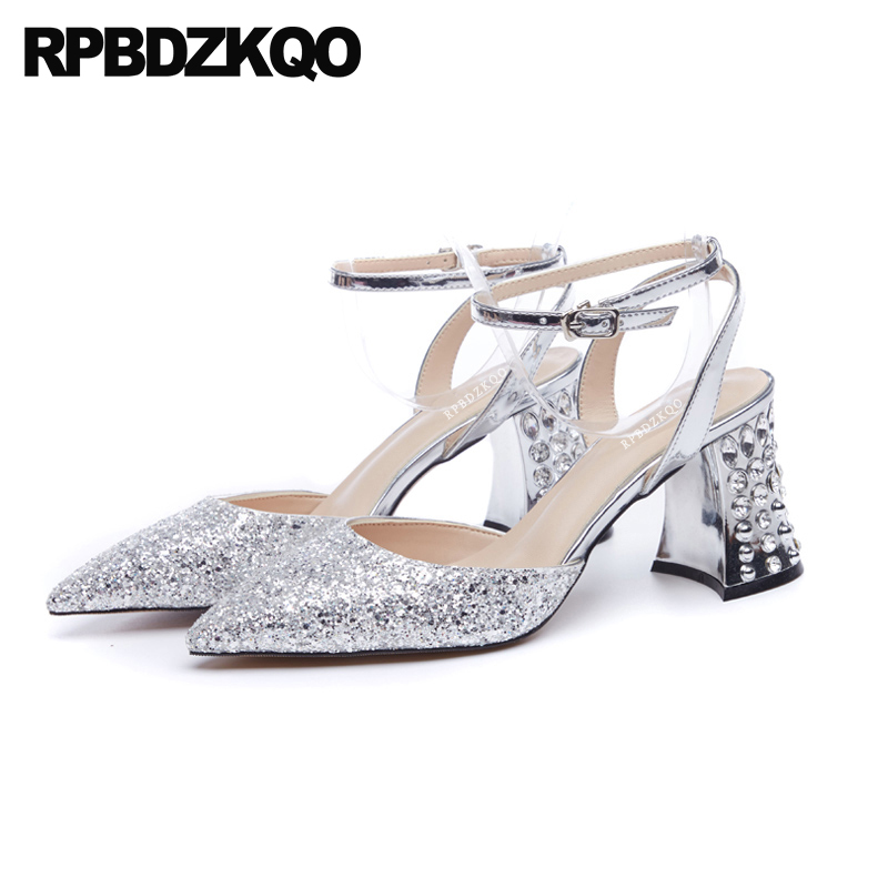 Crystal Block Ankle Strap Silver Designer Sandals Women Luxury 2018 Sequin  High Heels Pumps Diamond Glitter Bling Shoes Pointed 0d60fa22a177