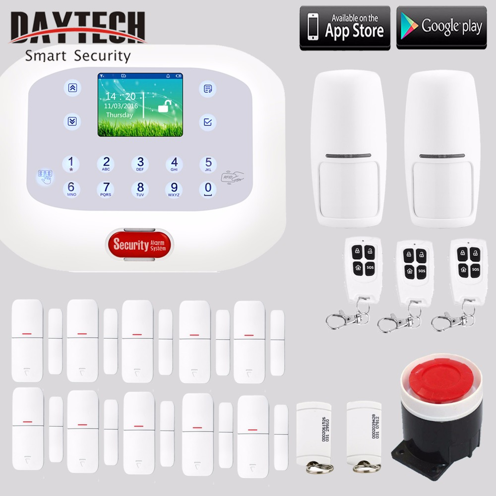 Wireless PSTN GSM SMS Home Intruder Alarm System with PIR Motion Sensor Door Intruder Detector Backup Battery APP control
