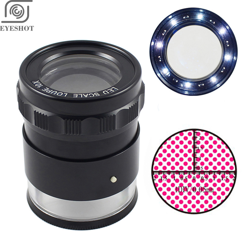 10X Metal LED Illuminated Focus Adjustable Cylindrical Loupe Measuring Magnifier Achromatic Lens with Scale Graticule and Lamps