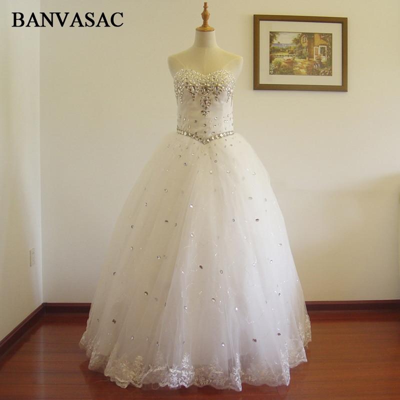 BANVASAC Անվճար առաքում 2017 New A Line Crystal Sleeveless White Satin Հարսանեկան Հարսանյաց զգեստ Հարսանյաց զգեստ Vestido De Noiva W0174