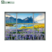 Maruoxuan 2017 New 3D European Valley Lavender Fake Window Sticker Bedroom Living Room Backdrop Decor PVC Wall Stickers
