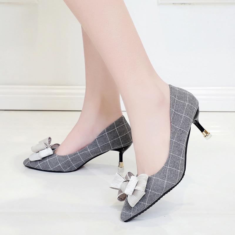 Bow bleu Sauvage Haute Nouvelles 2018 Profonde Simples Mode noir gray Arc Bow Black Stylet De blue Chaussures Bouche Peu gris Femmes Bow Talons xC1YYTqw