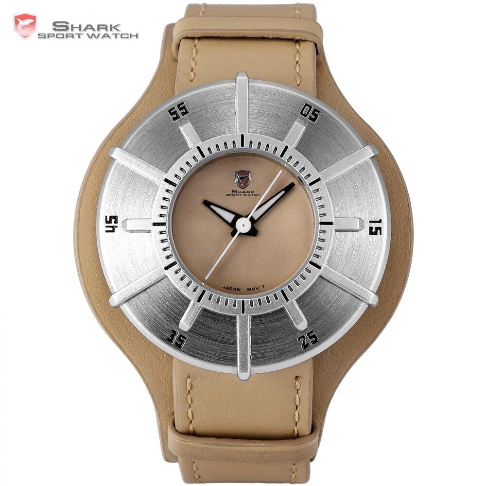 Silky Shark Sport Watch NEW Luxury Brand Men's Silver Sundial Designer Big Quartz Clock Army Brown Leather Wrist Watches /SH481