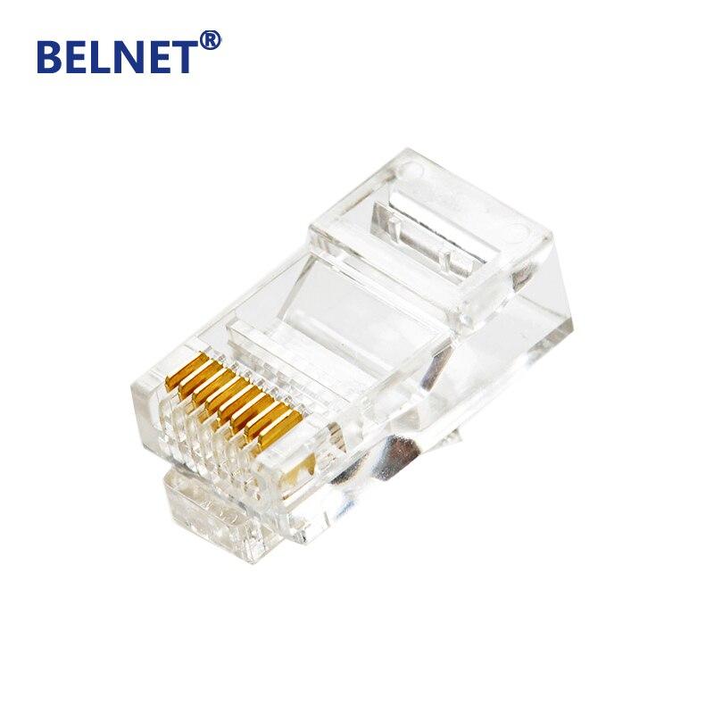 BELNET 100 шт. RJ45 разъем Cat6 UTP неэкранированный 8P8C RJ45 штекер 24k 50u позолоченный модульный Ethernet адаптер кабельного штекера 1000 Мбит/с