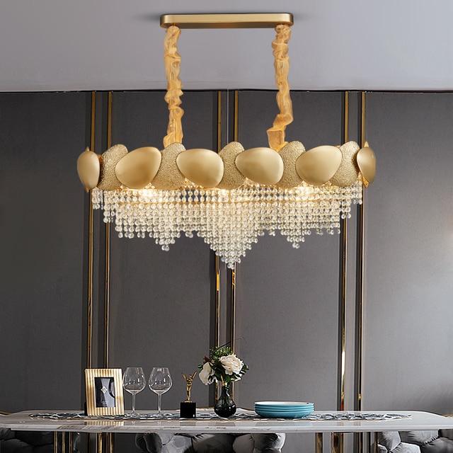 Gouden onregelmatige kristallen kroonluchter rechthoekige led restaurant lamp luxe woonkamer hotel techniek decoratieve lamp