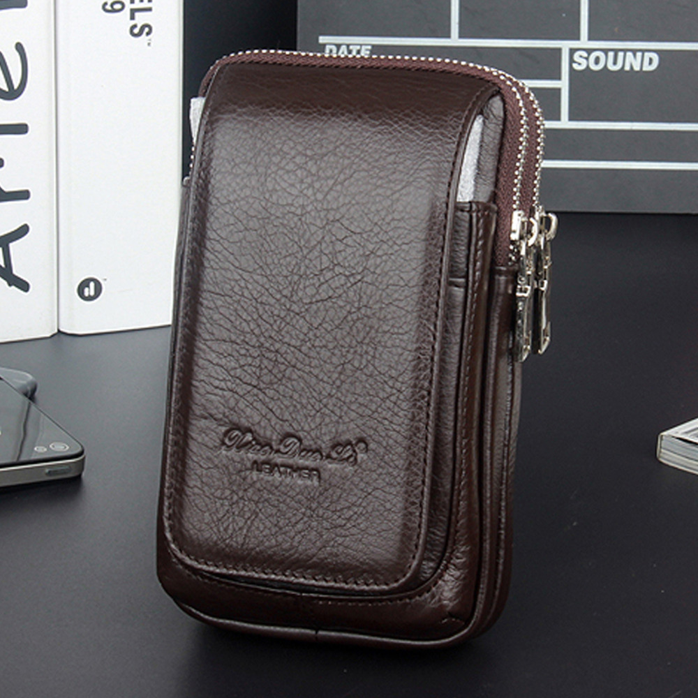 2018 New Fashion Men Genuine Leather Fanny Waist Bag Cell/Mobile Phone Coin Purse Pocket Belt Bum Pouch Male/Military Pack