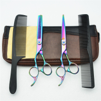 Left Hand 4Pcs Suit 6'' Customized Logo Colorful JP 440C Human Hair Hairdressing Scissors Cutting Shears + Thinning + Comb C8002