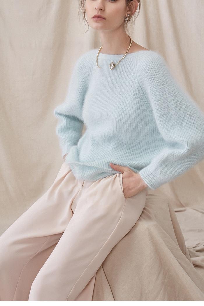 Ligth Clair Soft Français Foncé Chandail Manches De dark Rose Vert Coude Design rose Biue Style Bleu Pull Long Femmes Green 6SZCwqAx