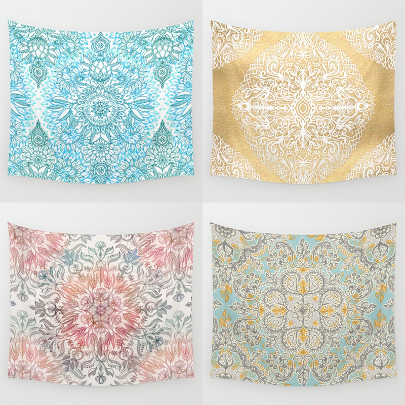Homing High Quality Indian Beautiful Mandala Geometric Flower Cozy Polyester Tapestry Picnic Yoga Rug Wall Hanging Home Decor