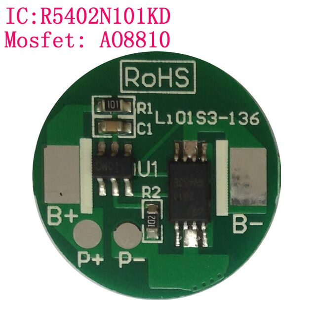 10PCS/Lot 1S protection circuit board 2.5A for 18650 cell Li-ion battery the diameter=18mm PCB PCM assembly protection circuit 3s 30a bms pcm pcb battery protection board for 11 1v li ion lithium battery cell pack sh04030029 lb3s30a