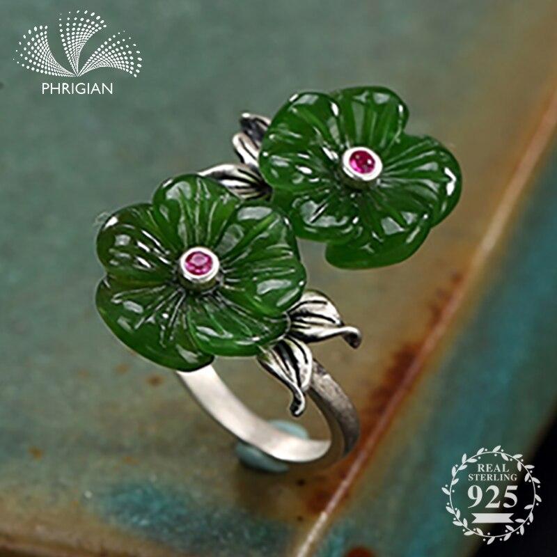 Pas faux bague en argent Sterling 925 fait à la main émeraude Thai argent S925 fine Art double fleur jade tibétain double fleur de lotus